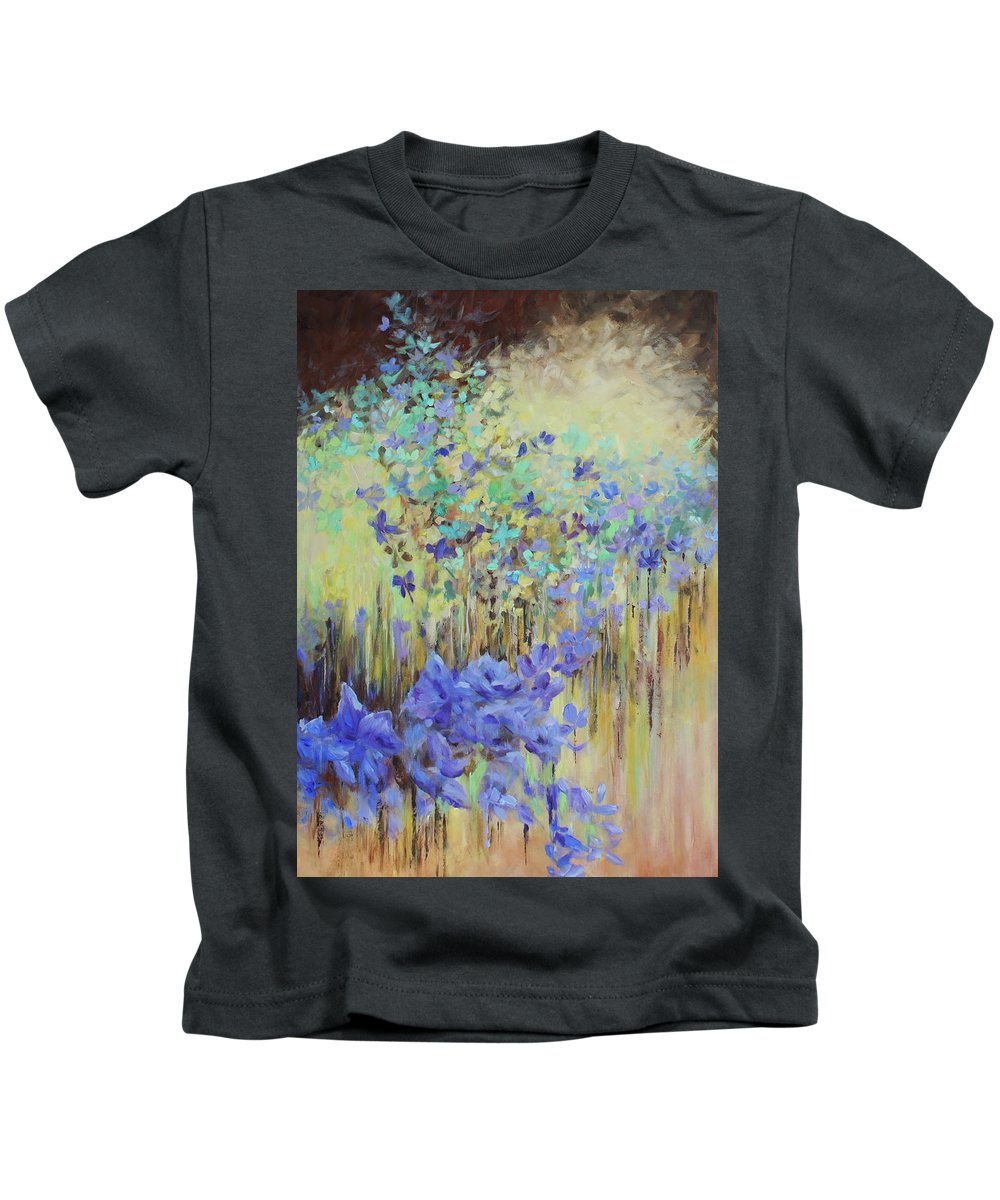 Iris Kids T-Shirt featuring the painting In Flight by Jo Smoley