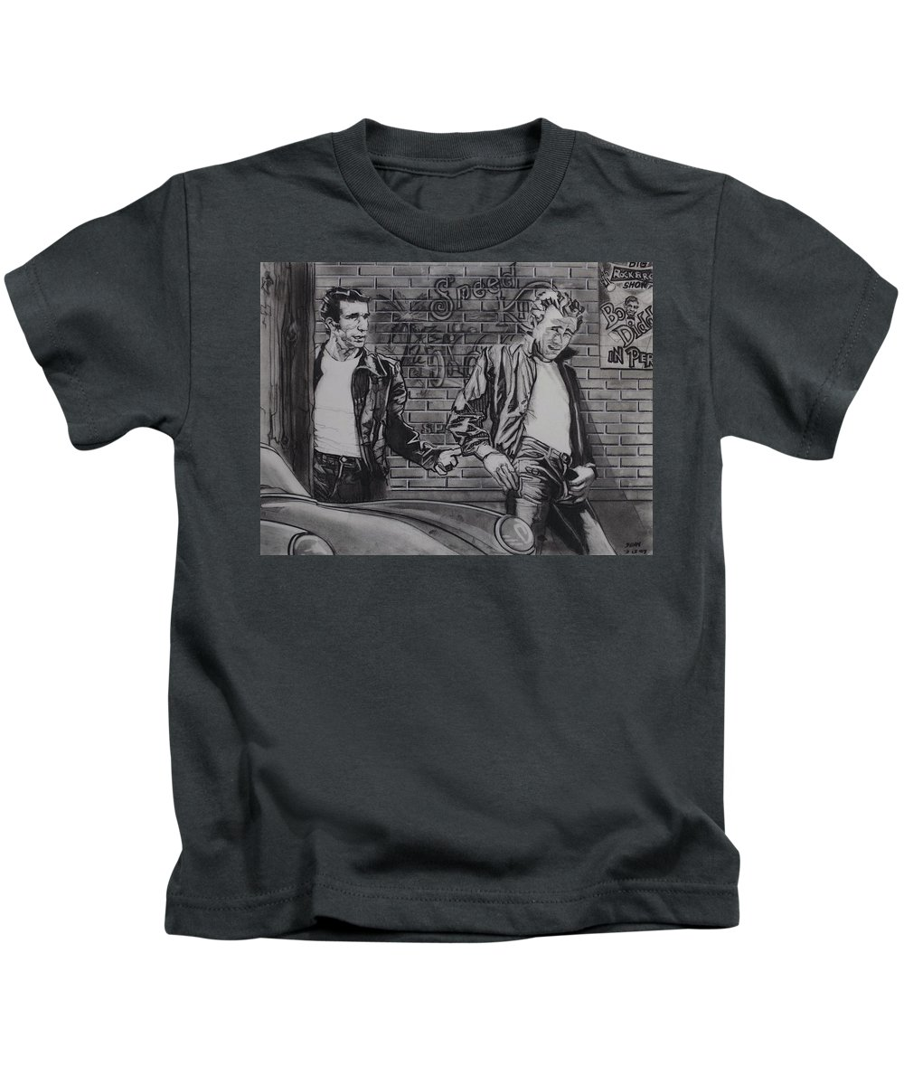 Charcoal On Paper Kids T-Shirt featuring the drawing James Dean Meets The Fonz by Sean Connolly