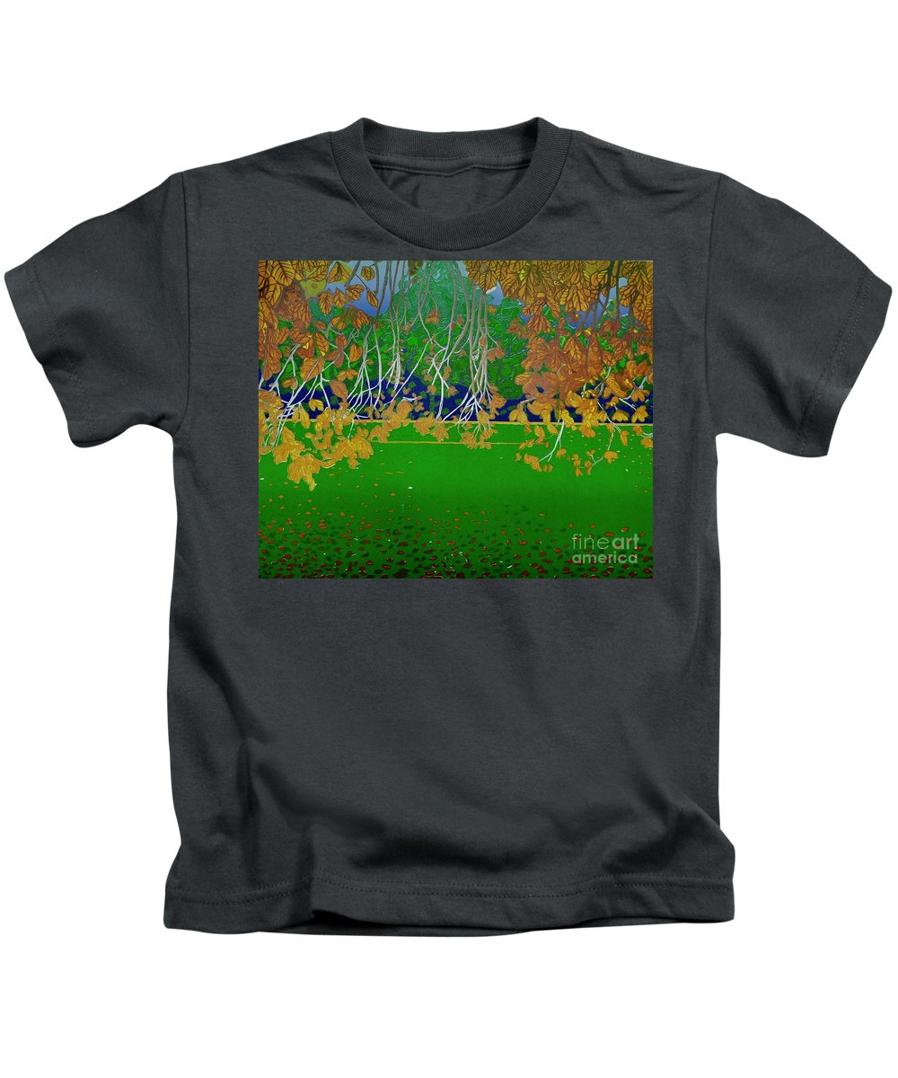 Landscape Kids T-Shirt featuring the mixed media Late Summer by Jarle Rosseland