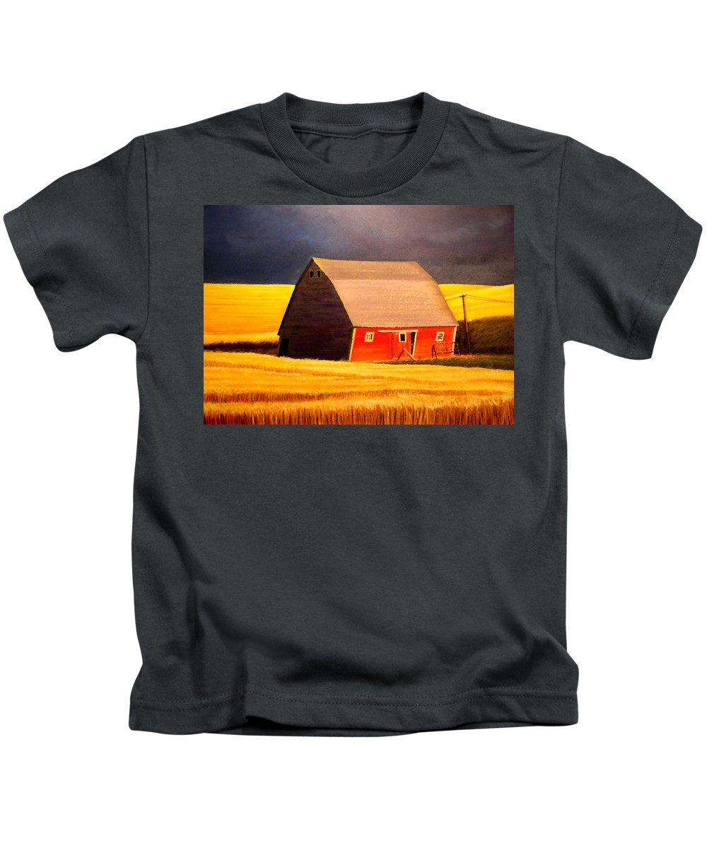 Barn Kids T-Shirt featuring the painting Leans to the Right by Leonard Heid