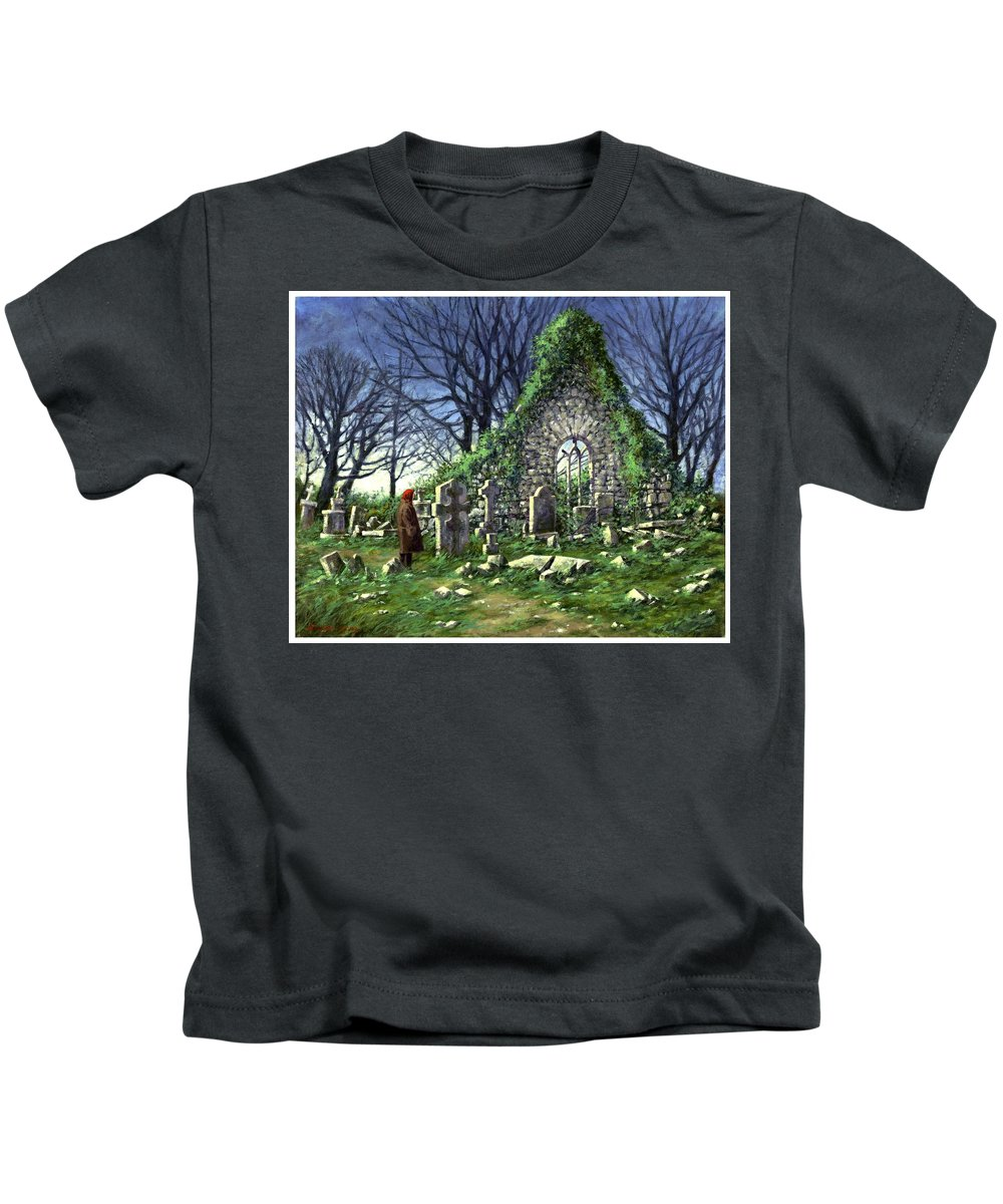 Landscape Kids T-Shirt featuring the painting Londonderry Stones by Jim Gola