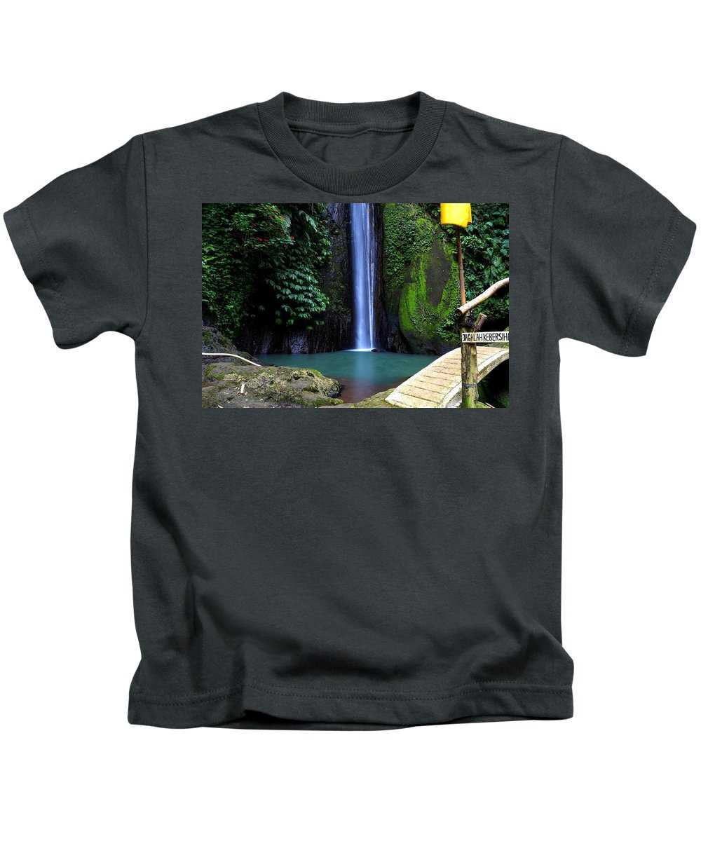 Waterfall Kids T-Shirt featuring the digital art Lonely waterfall by Worldvibes1