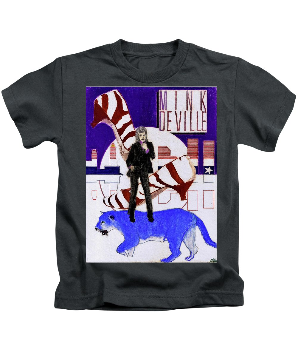 Willy Deville Kids T-Shirt featuring the drawing Mink DeVille - Le Chat Bleu by Sean Connolly