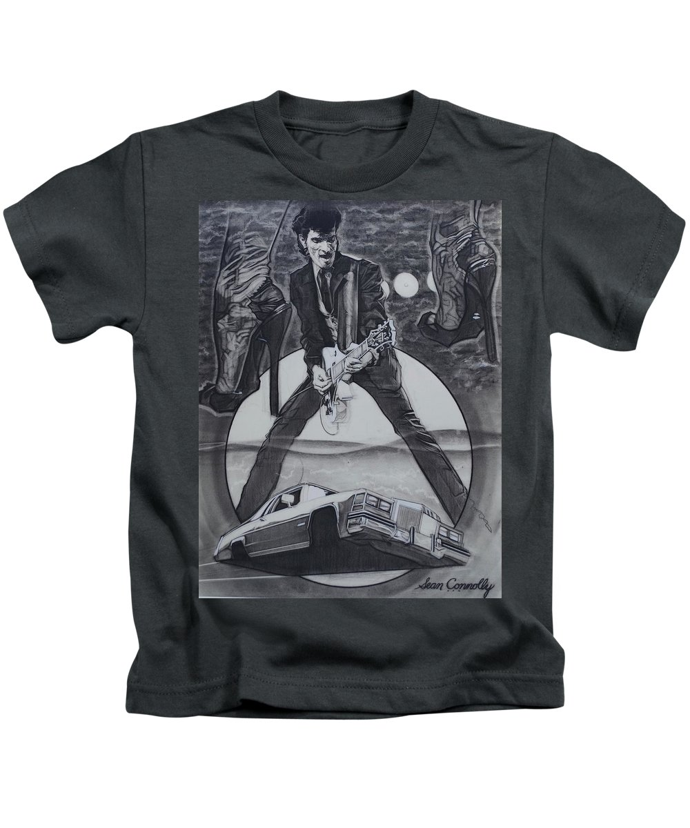 Charcoal On Paper Kids T-Shirt featuring the drawing Mink DeVille by Sean Connolly
