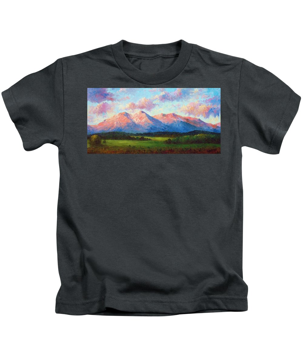 Landscape Kids T-Shirt featuring the painting Morning Light On Mount Shavano by David G Paul