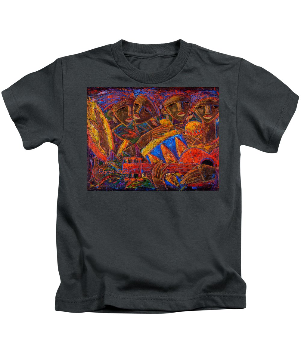 Puerto Rico Kids T-Shirt featuring the painting Musas Del Caribe by Oscar Ortiz