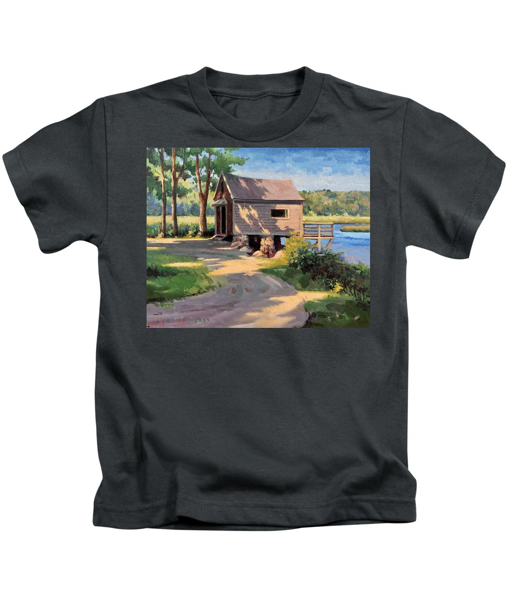 Norwell Kids T-Shirt featuring the painting Norwell Boathouse by Dianne Panarelli Miller
