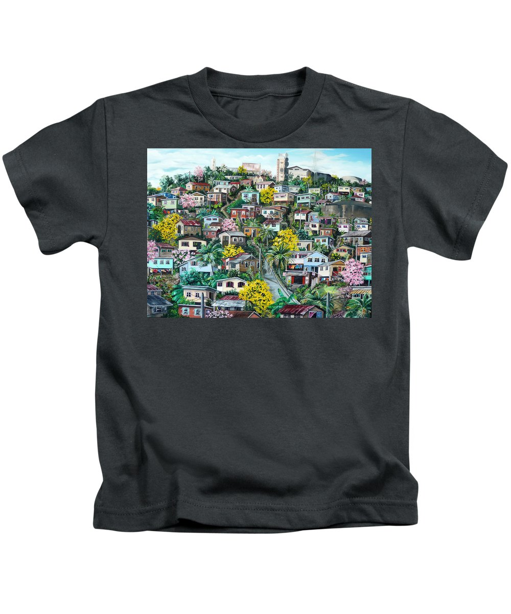 Landscape Painting Cityscape Painting Original Oil Painting  Blossoming Poui Tree Painting Lavantille Hill Trinidad And Tobago Painting Caribbean Painting Tropical Painting Kids T-Shirt featuring the painting Poui On The Hill by Karin Dawn Kelshall- Best