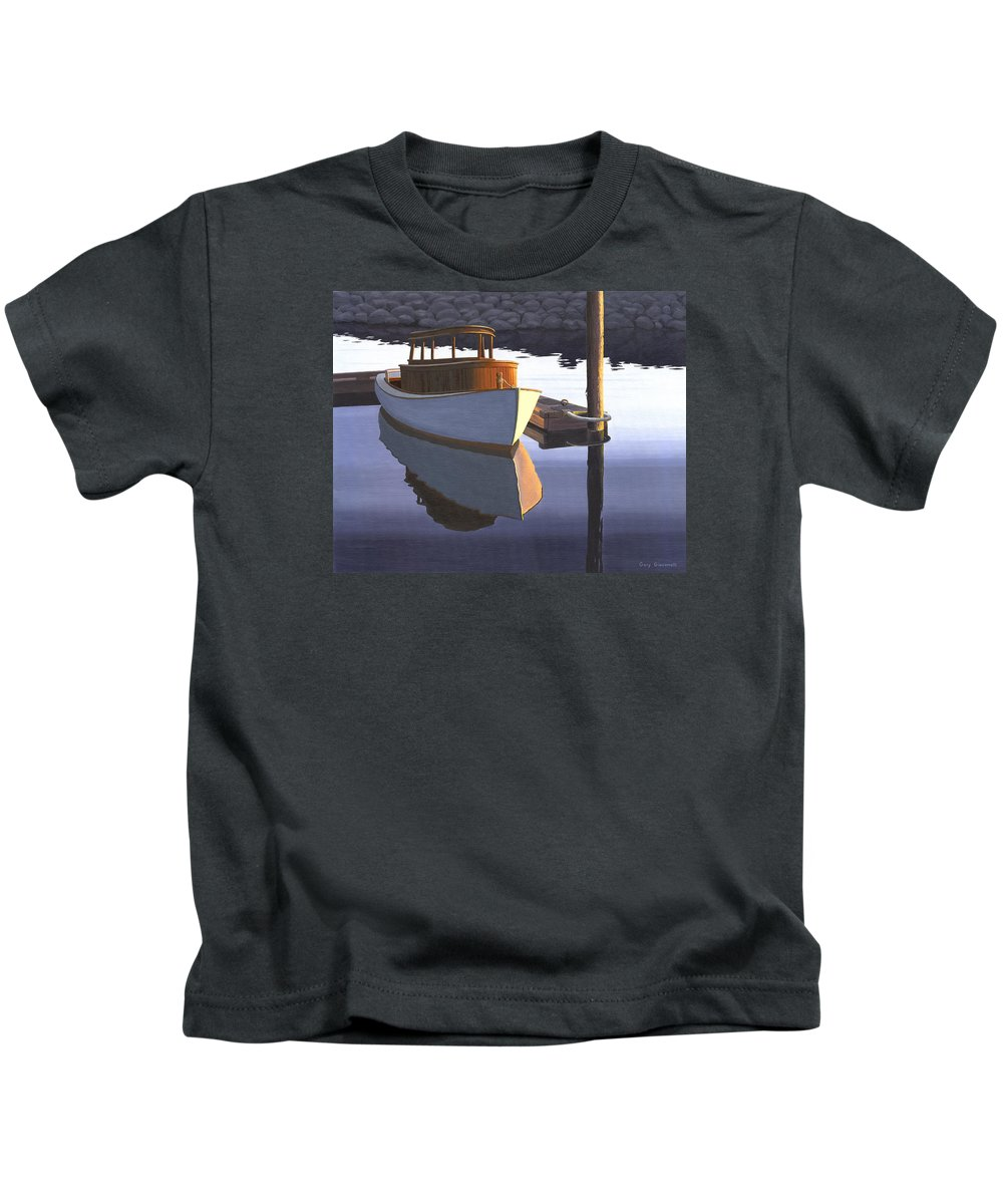Marine Kids T-Shirt featuring the painting Retired fisherman by Gary Giacomelli