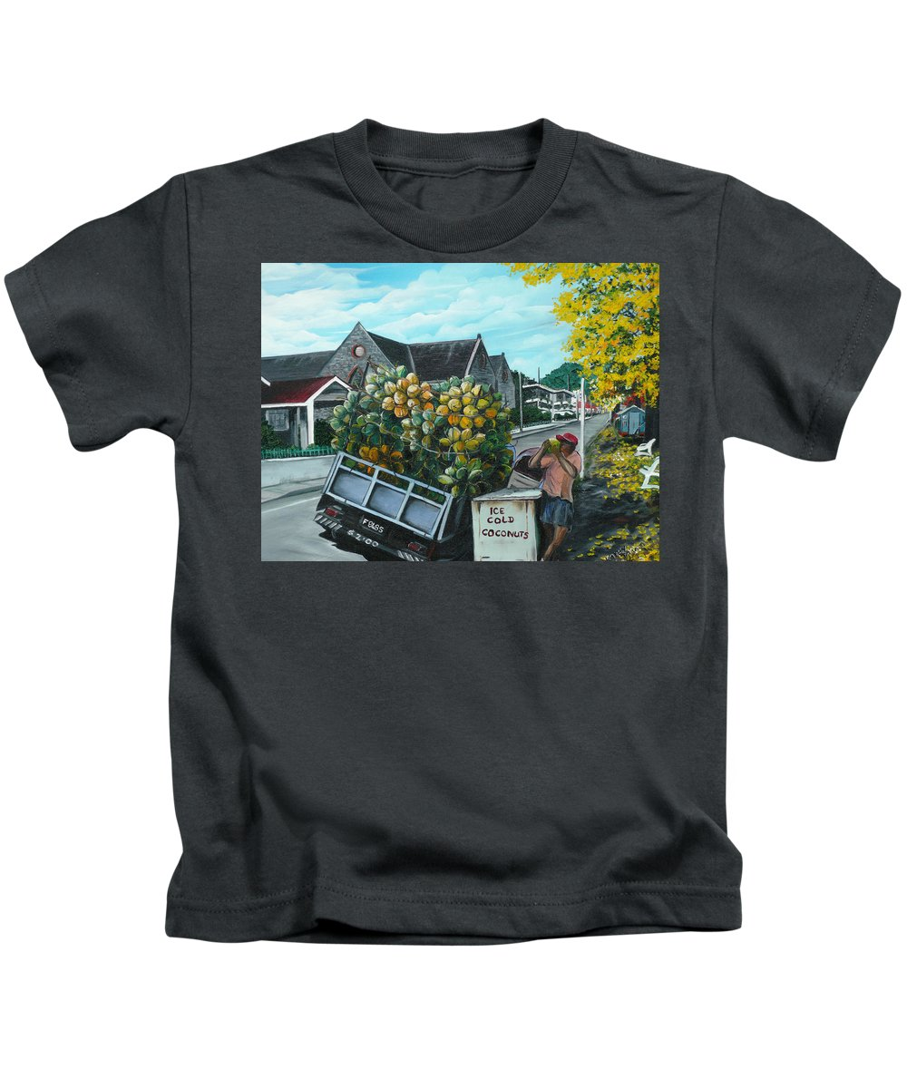 Caribbean Painting Coconuts Vendor Trinidad And Tobago Painting Savannah Paintings  Poui Tree Painting Tropical Painting Kids T-Shirt featuring the painting Savannah Coconut Vendor by Karin Dawn Kelshall- Best