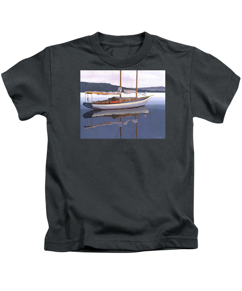 Schooner Kids T-Shirt featuring the painting Schooner at dusk by Gary Giacomelli