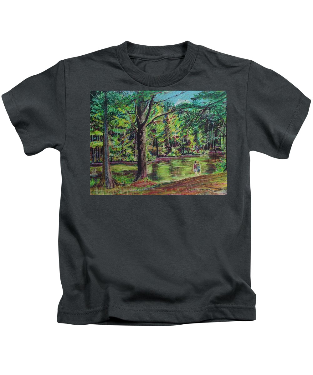 Family Kids T-Shirt featuring the pastel Sisters At Wason Pond by Sean Connolly