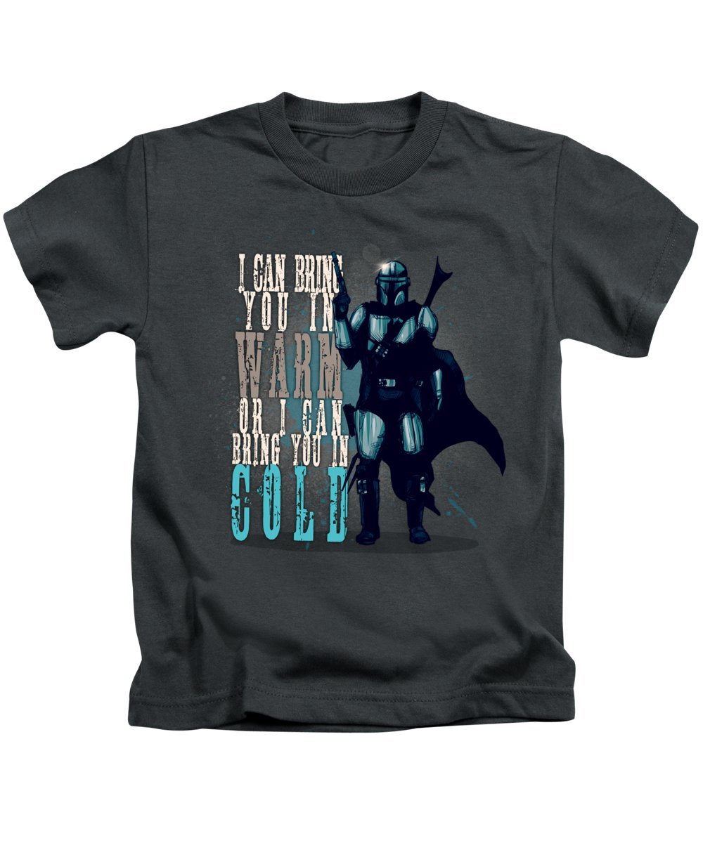 Mando Kids T-Shirt featuring the drawing Space Cowboy by Ludwig Van Bacon