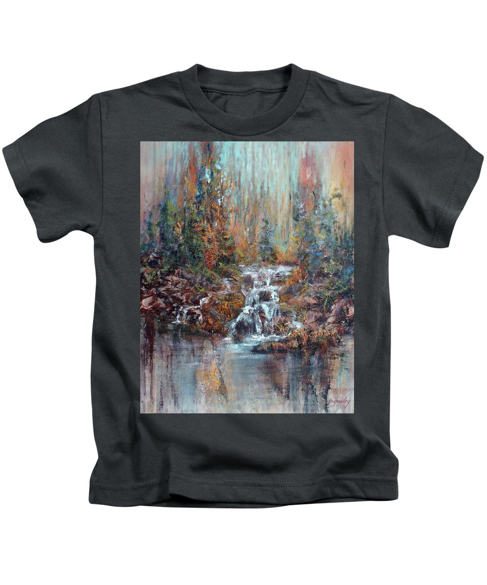 Forest Kids T-Shirt featuring the painting The Falls by Jo Smoley
