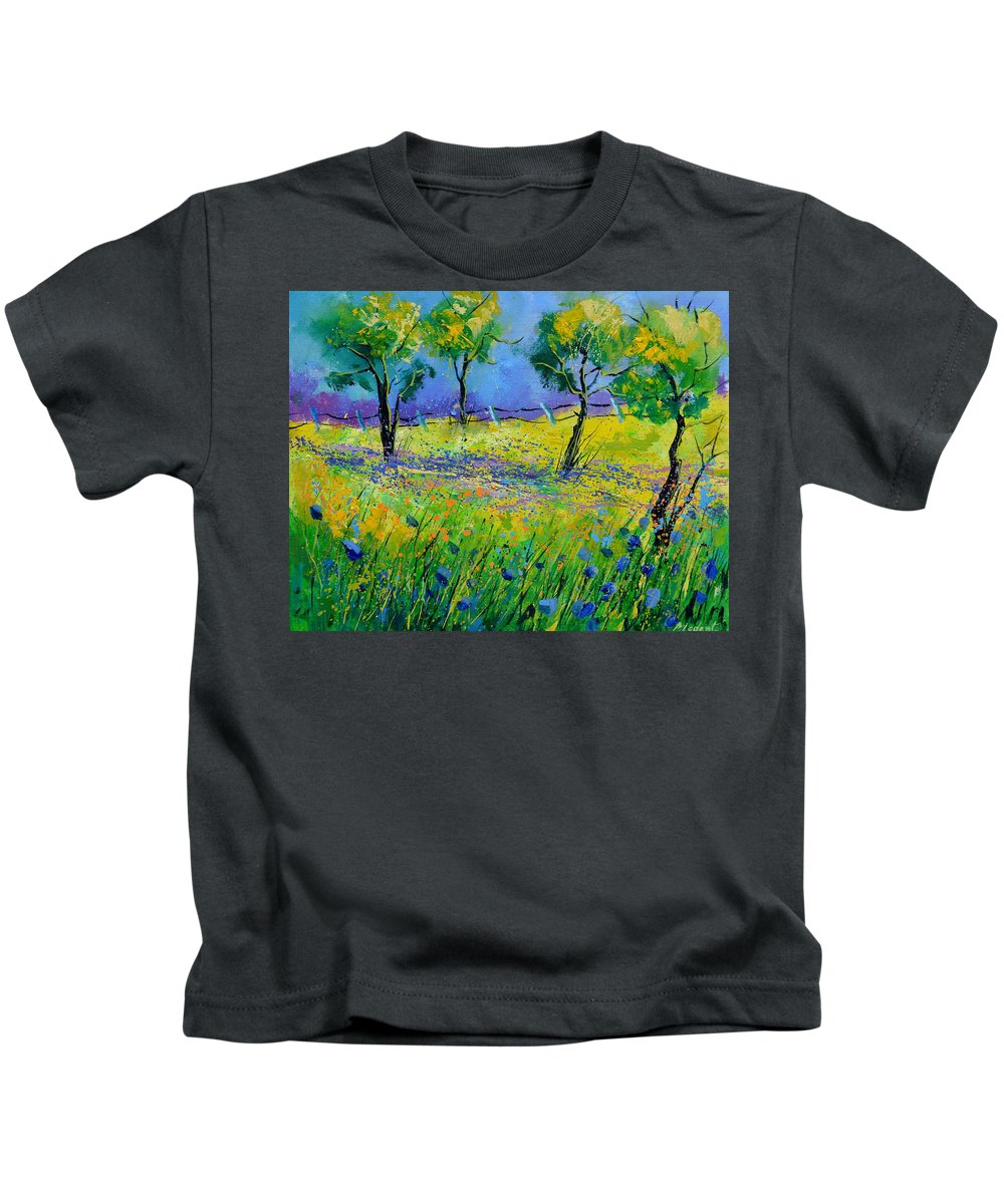 Landscape Kids T-Shirt featuring the painting Summer dance by Pol Ledent