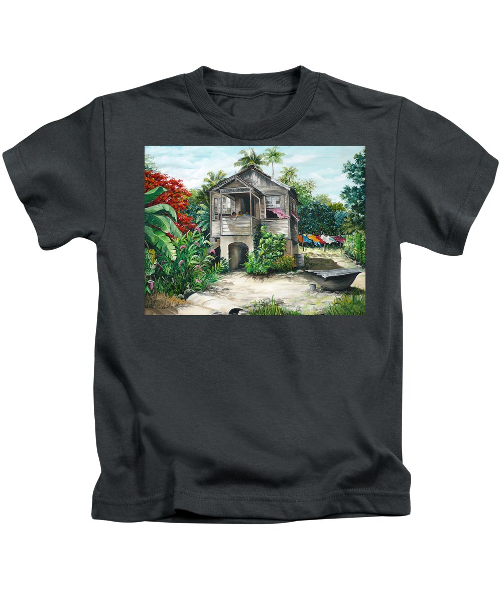 Landscape Painting Caribbean Painting House Painting Tobago Painting Trinidad Painting Tropical Painting Flamboyant Painting Banana Painting Trees Painting Original Painting Of Typical Country House In Trinidad And Tobago Kids T-Shirt featuring the painting Sweet Island Life by Karin Dawn Kelshall- Best