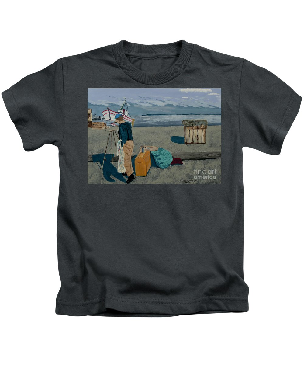 Artist Kids T-Shirt featuring the painting The Artist by Anthony Dunphy