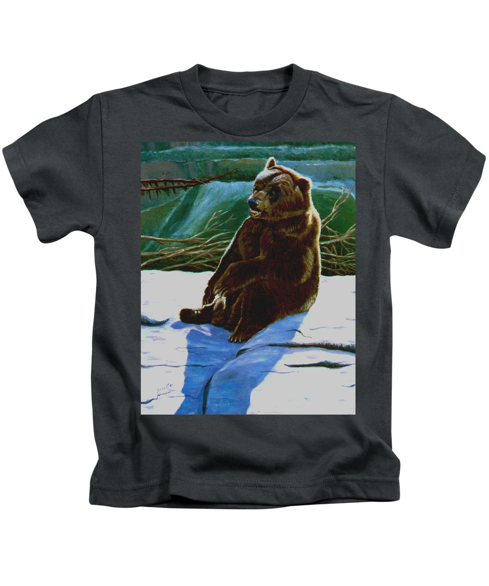 Original Oil On Canvas Kids T-Shirt featuring the painting The Bear by Stan Hamilton