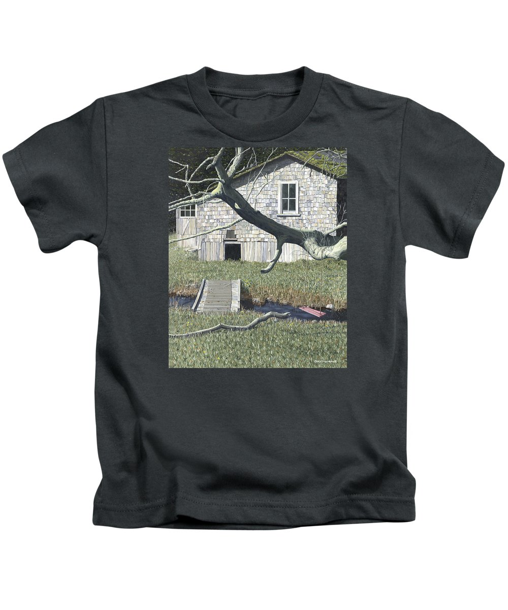 Landscape Kids T-Shirt featuring the painting The old swing by Gary Giacomelli