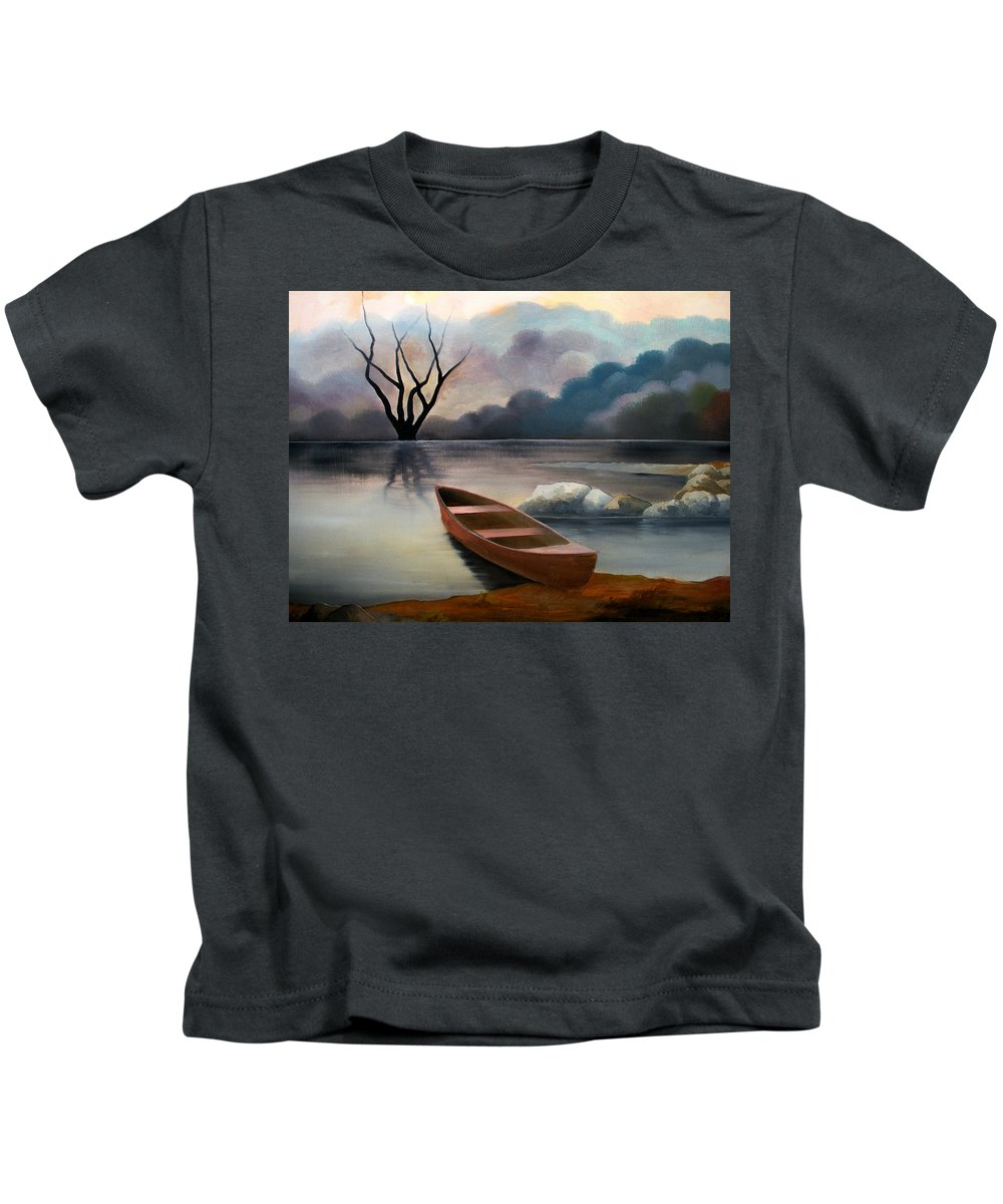 Duck Kids T-Shirt featuring the painting Tranquility by Sergey Bezhinets