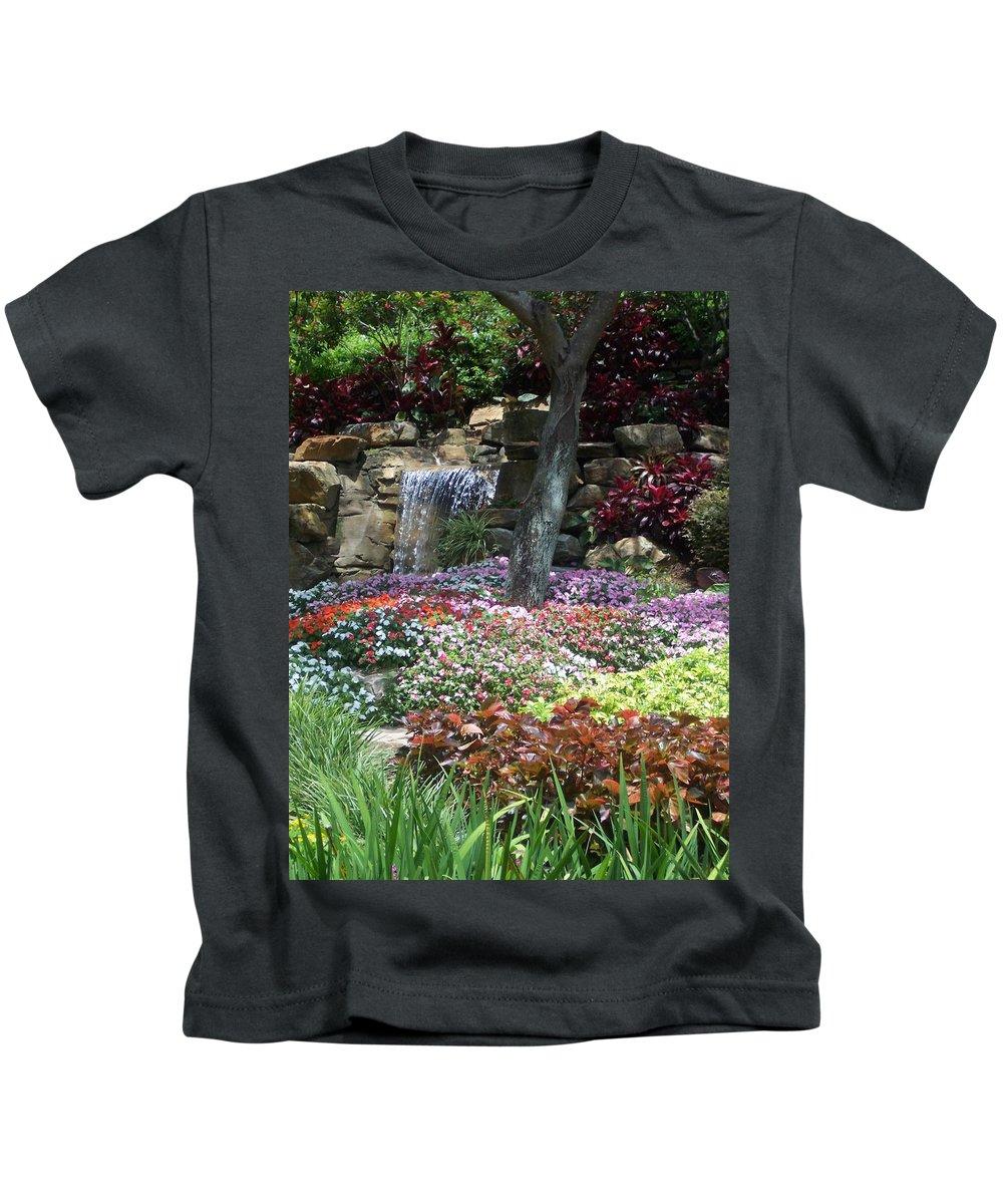 Garden Kids T-Shirt featuring the photograph Waterfall Garden by Pharris Art