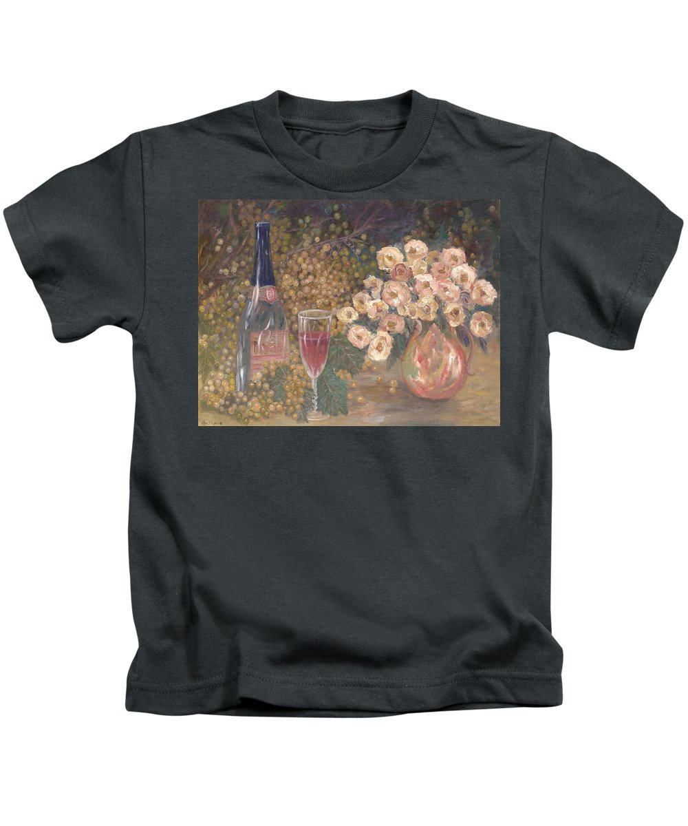 Stilllife; Floral; Wine Kids T-Shirt featuring the painting Wine And Roses by Ben Kiger
