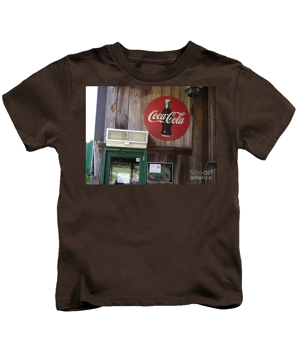 Vintage Coca Cola Sign Prints Kids T-Shirt featuring the photograph   Coca Cola by R A W M