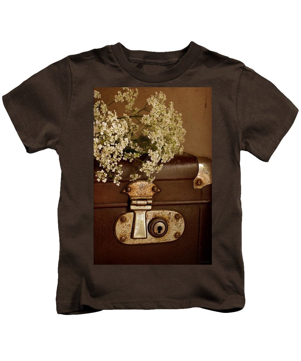 Suitcase Kids T-Shirt featuring the photograph Old Suitcase by Guna Andersone