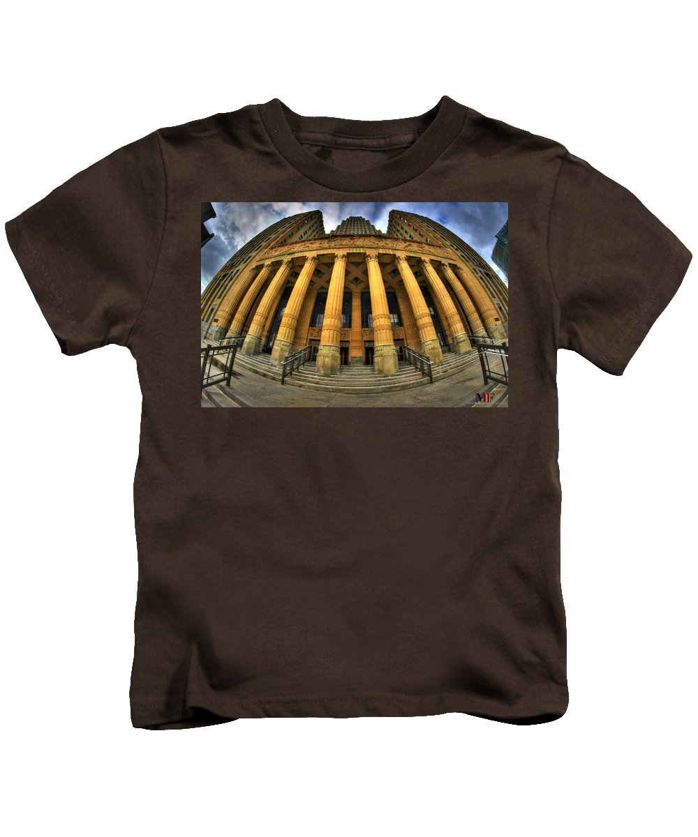 Michael Frank Jr Kids T-Shirt featuring the photograph 0022 Admiring The Architecture Of Our City Hall by Michael Frank Jr