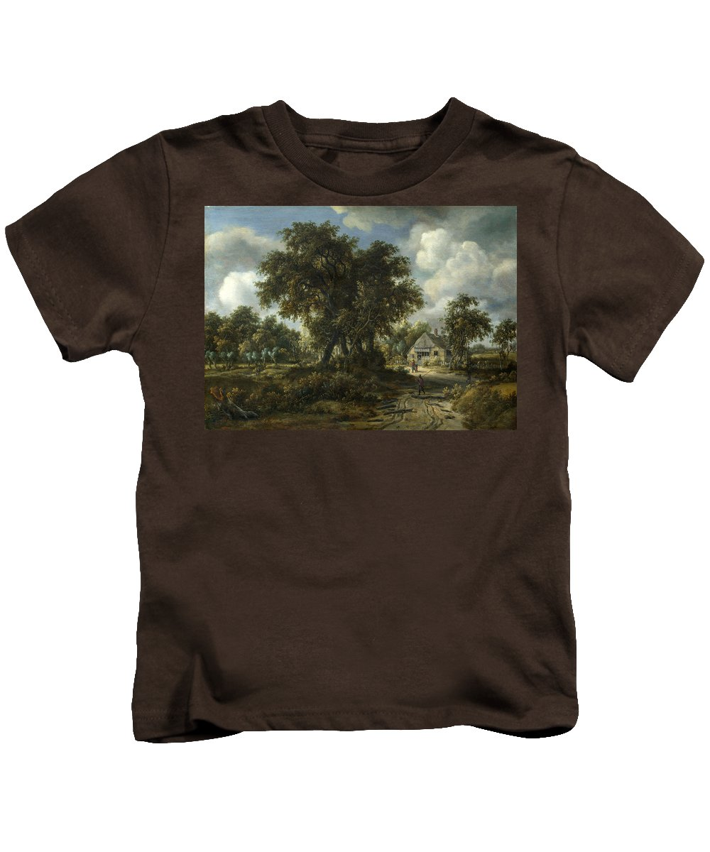 Meindert Hobbema Kids T-Shirt featuring the painting A Woody Landscape by Meindert Hobbema