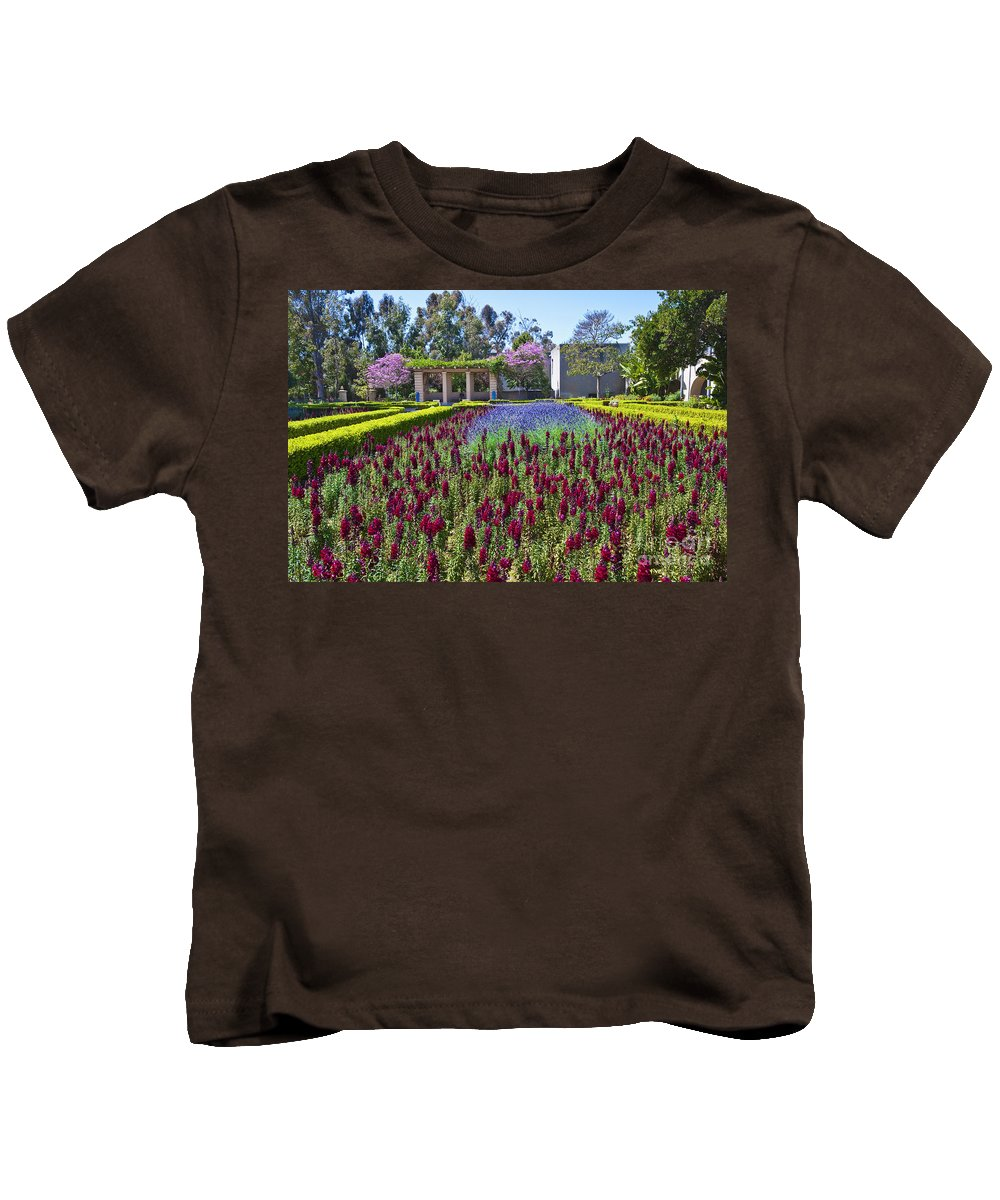 Alcazar Garden Vibrant Color Display Balboa Park San Diego Kids T-Shirt featuring the photograph Alcazar Garden Vibrant Color Display Balboa Park by David Zanzinger