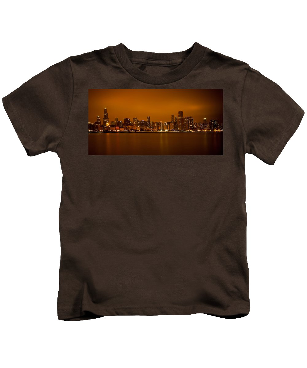 Chicago Kids T-Shirt featuring the photograph Chicago Skyline In Fog With Reflection by Anthony Doudt