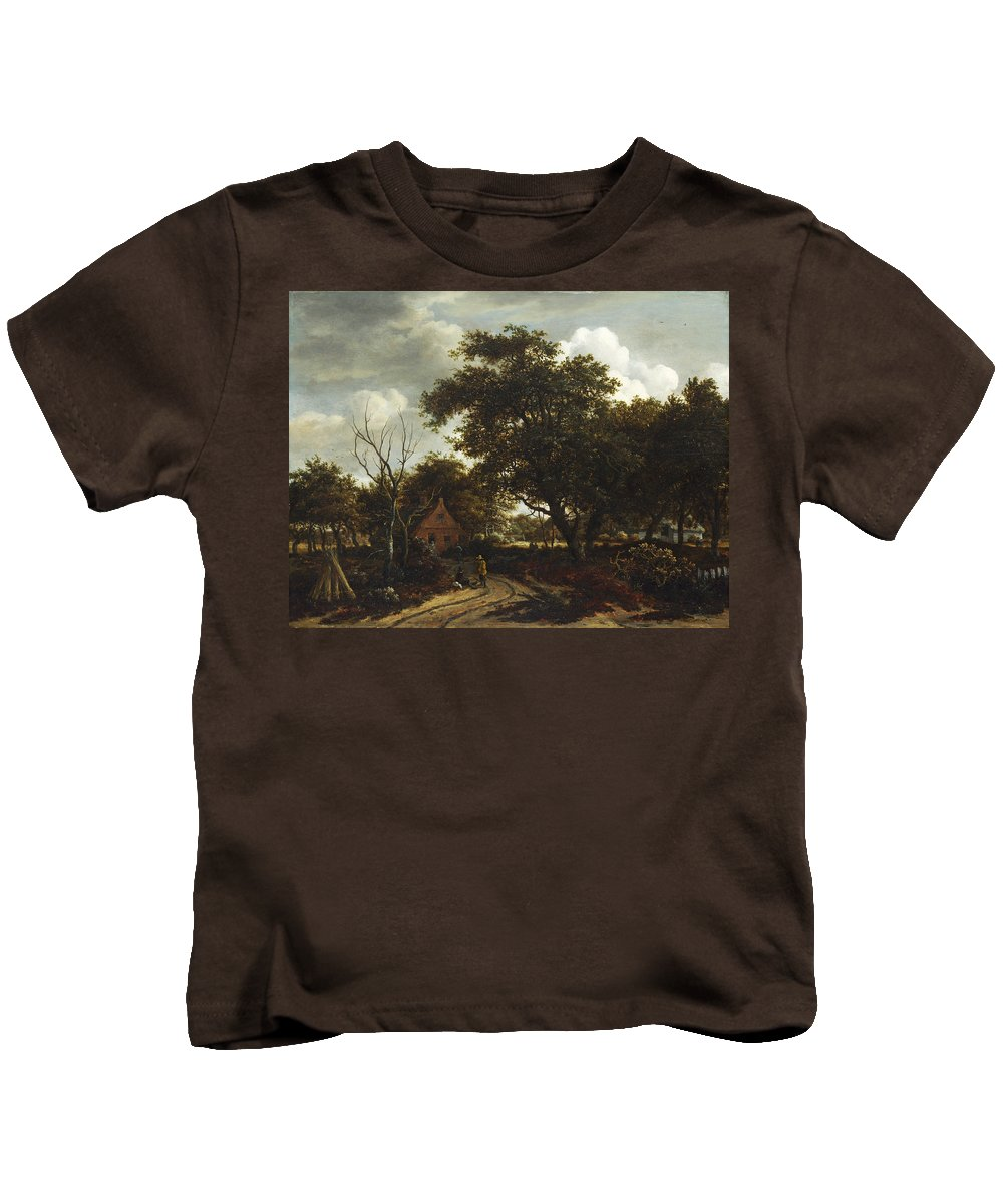 Meindert Hobbema Kids T-Shirt featuring the painting Cottages In A Wood by Meindert Hobbema
