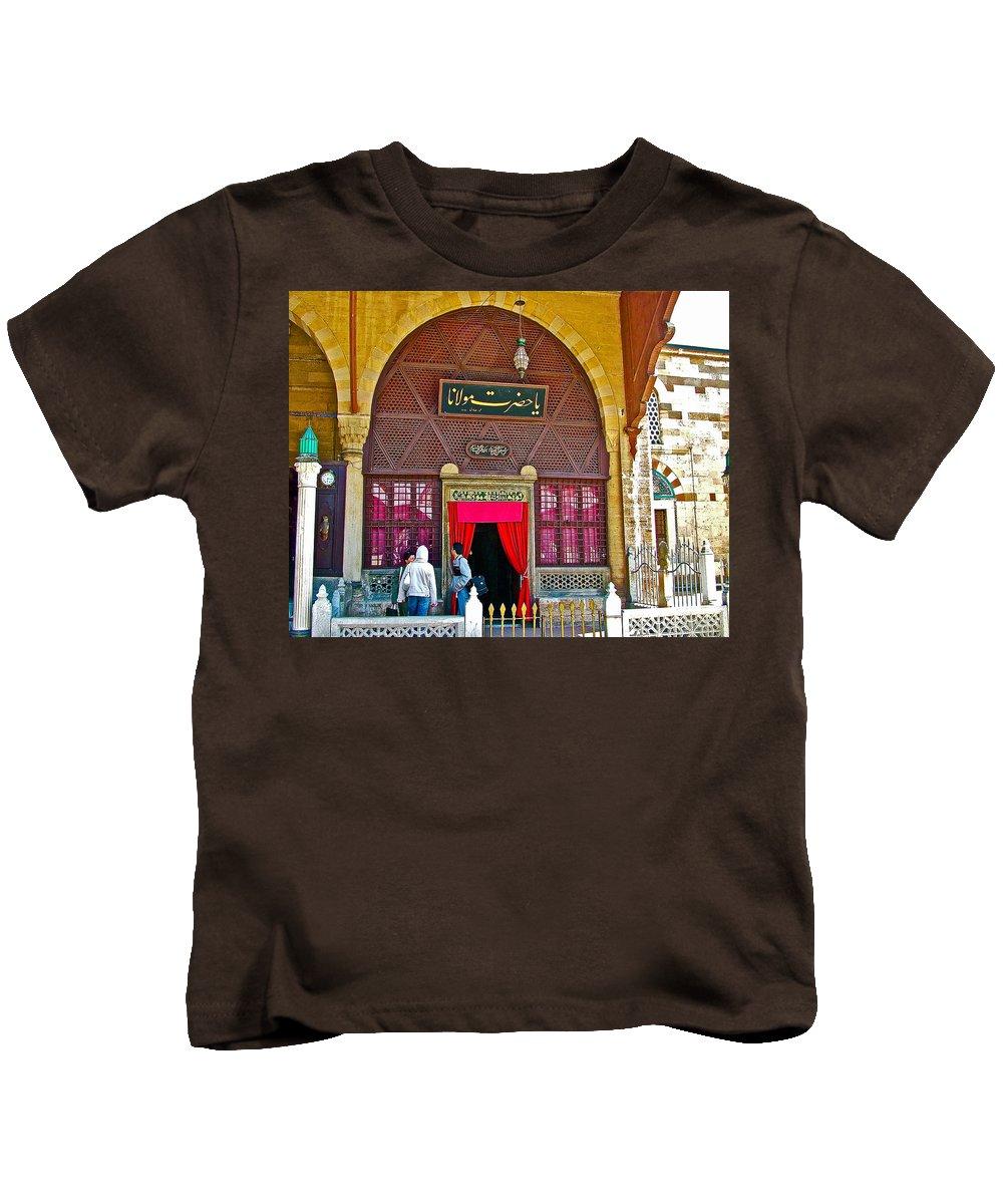 Entry To Mevlana Mausoleum In Konya Kids T-Shirt featuring the photograph Entry To Mevlana Mausoleum In Konya-turkey by Ruth Hager