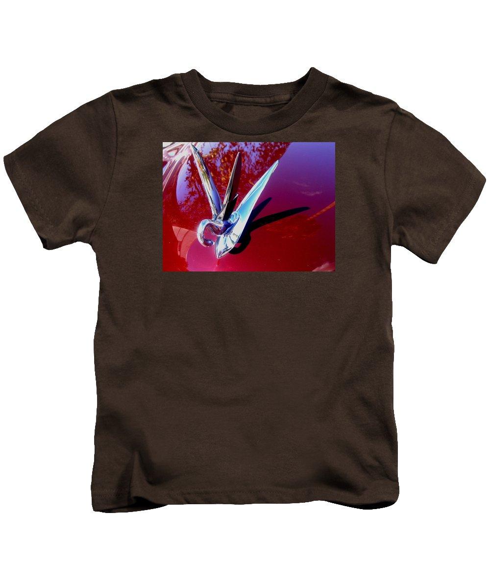 Film Noir Anna May Wong Impact 1949 1949 Packard Hood Casa Grande Arizona 2004 Kids T-Shirt featuring the photograph Film Noir Anna May Wong Impact 1949 1949 Packard Hood Casa Grande Arizona 2004 by David Lee Guss