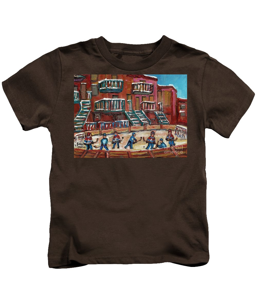 Hockey Kids T-Shirt featuring the painting Gorgeous Day For A Game by Carole Spandau