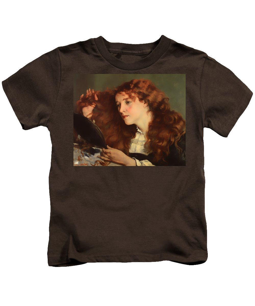 Painting Kids T-Shirt featuring the painting Jo The Beautiful Irish Girl by Mountain Dreams