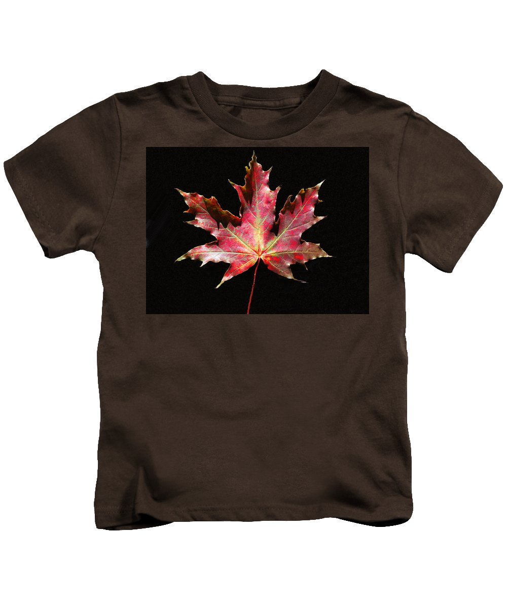 Maple Kids T-Shirt featuring the painting Maple Leaf by Petra Stephens