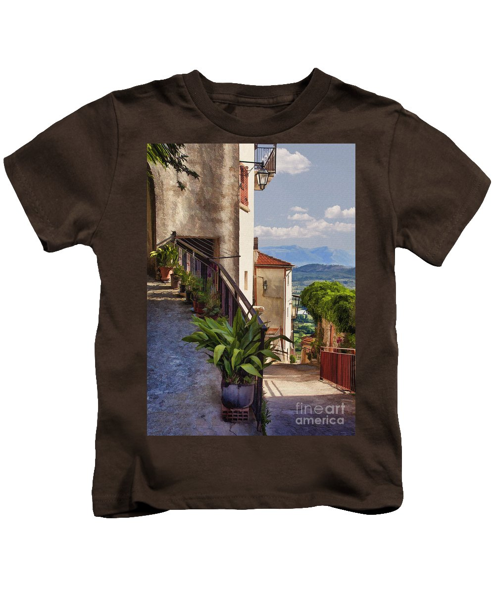 Italy Kids T-Shirt featuring the digital art Mountain Village by Sharon Foster