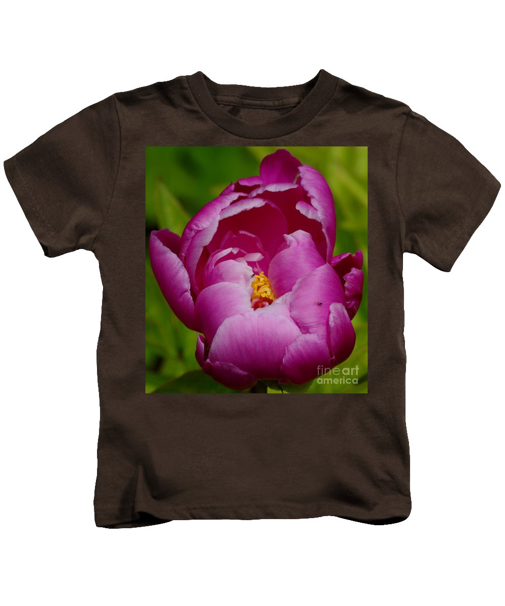 Pink Peony Kids T-Shirt featuring the photograph Pretty In Pink by Kitrina Arbuckle