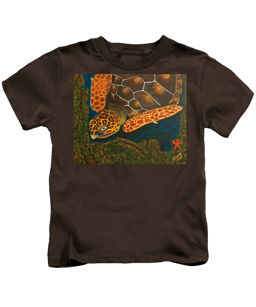 Turtle Kids T-Shirt featuring the painting Sea Turtle by Susan Cliett