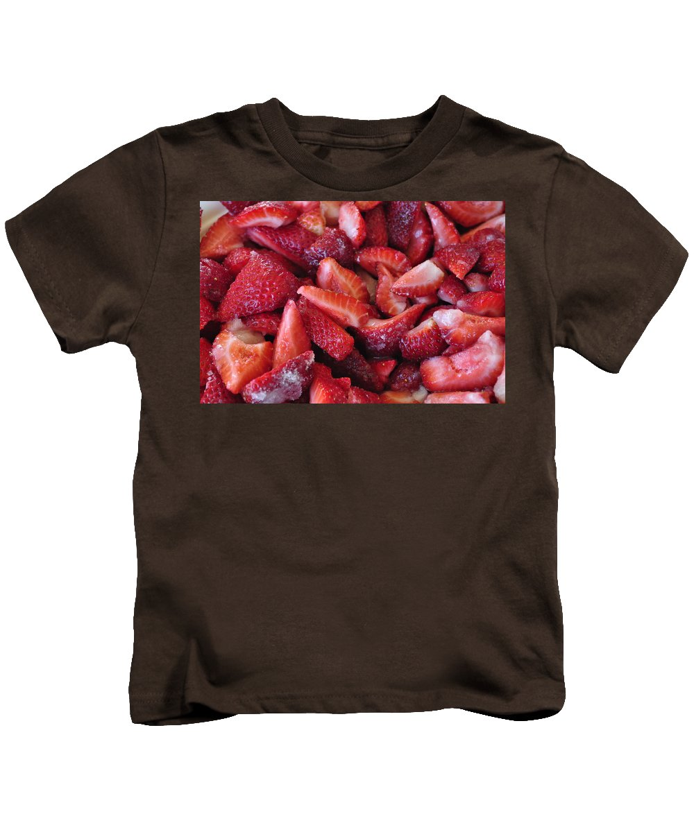 Red Kids T-Shirt featuring the photograph Sliced Strawberries by Tikvah's Hope
