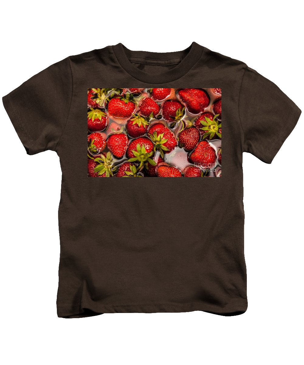 Strawberries Kids T-Shirt featuring the photograph Strawberries by Amel Dizdarevic