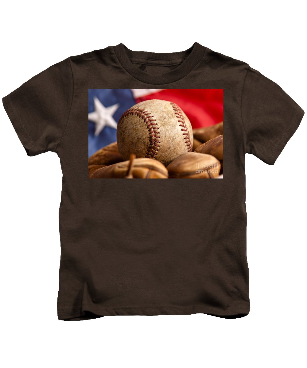 American Kids T-Shirt featuring the photograph Vintage Baseball by Leslie Banks