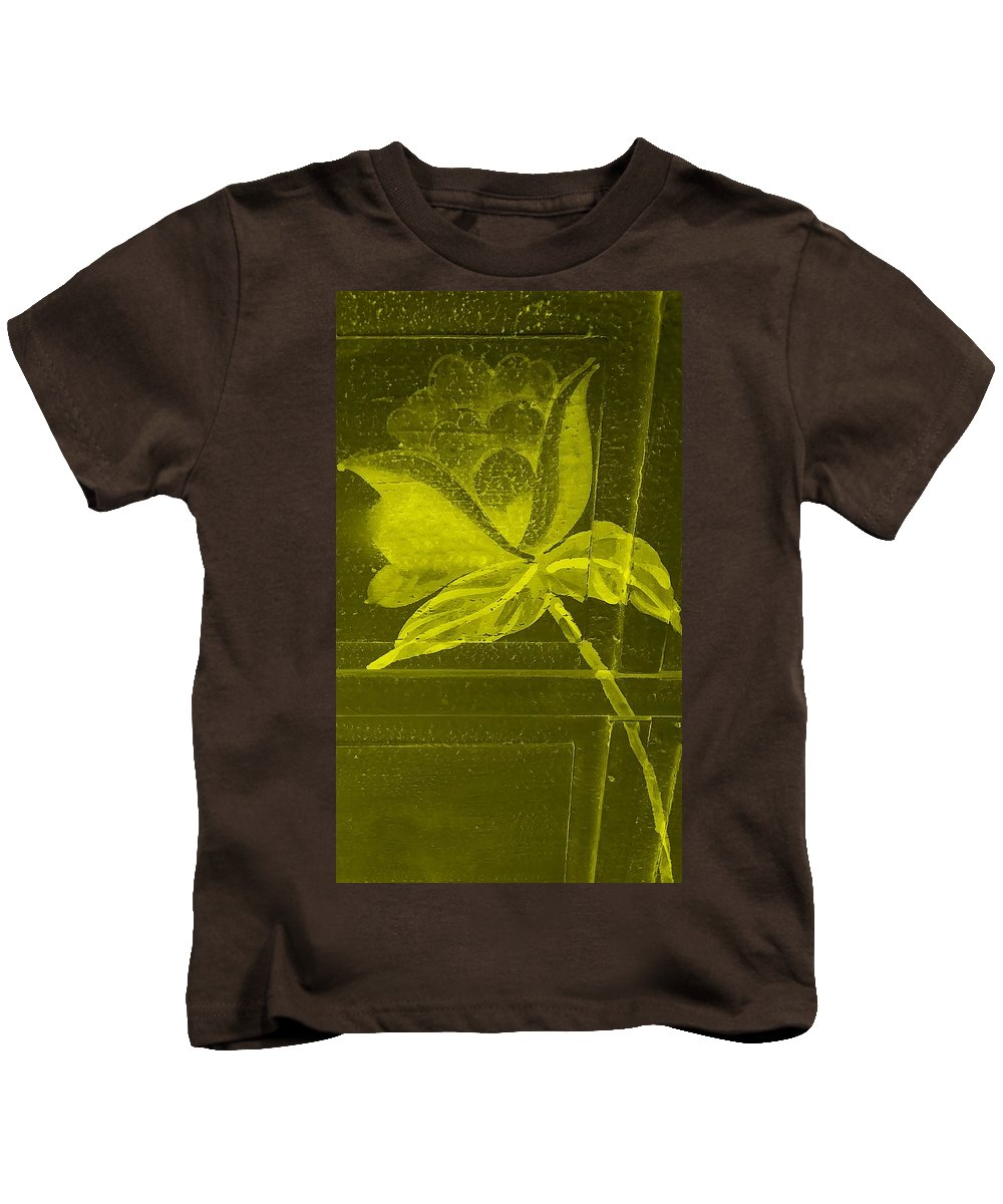 Flowers Kids T-Shirt featuring the photograph Yellow Negative Wood Flower by Rob Hans