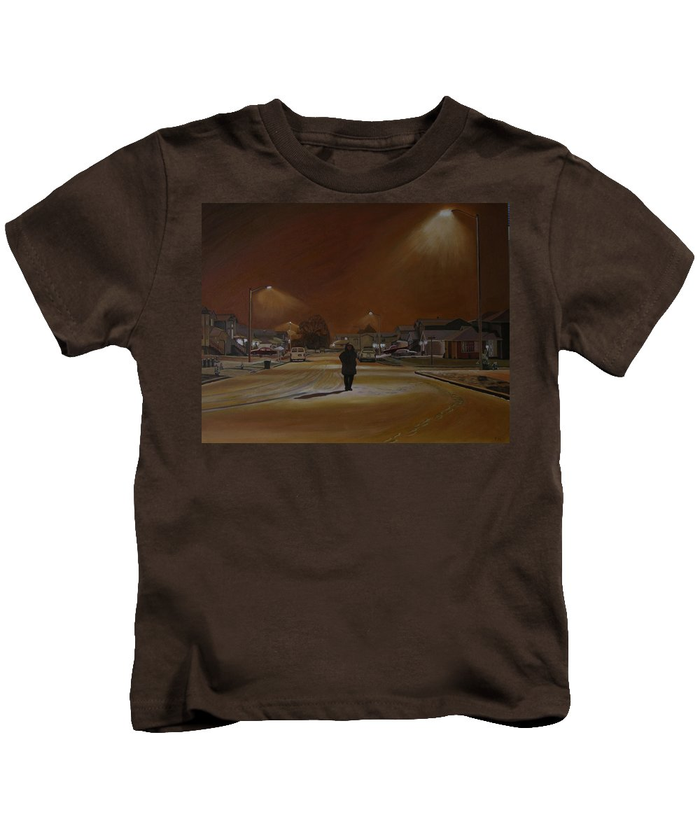 Winter Landscape Kids T-Shirt featuring the painting 1997-my First Snowy Winter by Thu Nguyen
