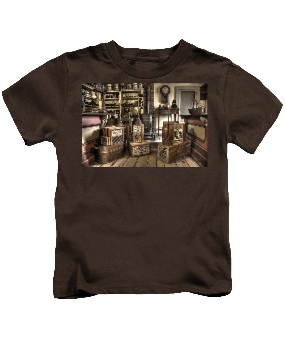 George Kids T-Shirt featuring the photograph 19th Century General Store by George Argento