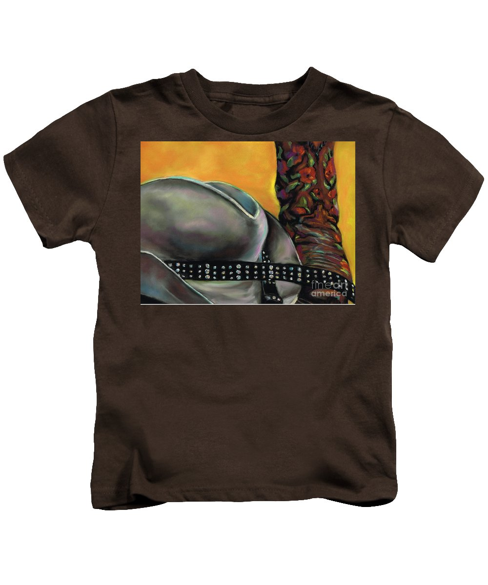 Cowgirls Kids T-Shirt featuring the painting Cowgirl Necessities by Frances Marino