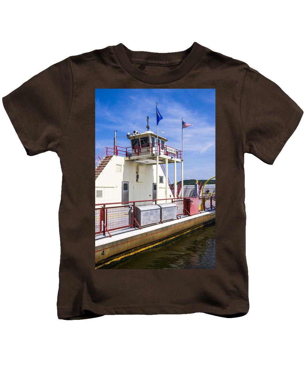 Ferry Kids T-Shirt featuring the photograph Merrimac Ferry - Wisconsin by Steven Ralser