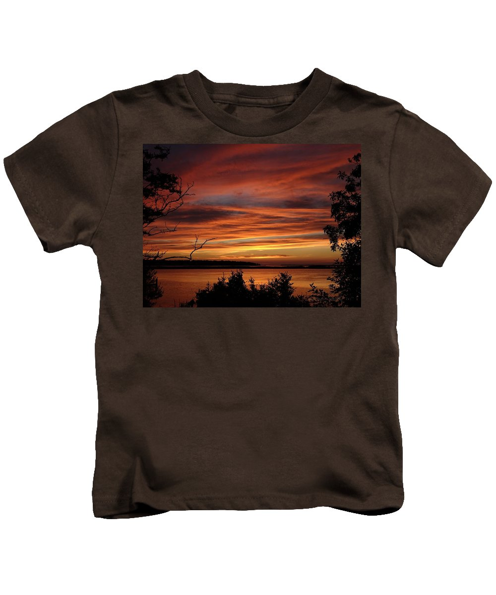 Obx Kids T-Shirt featuring the photograph Outer Banks Sunset Over Bay And Colington Island by Richard Rosenshein